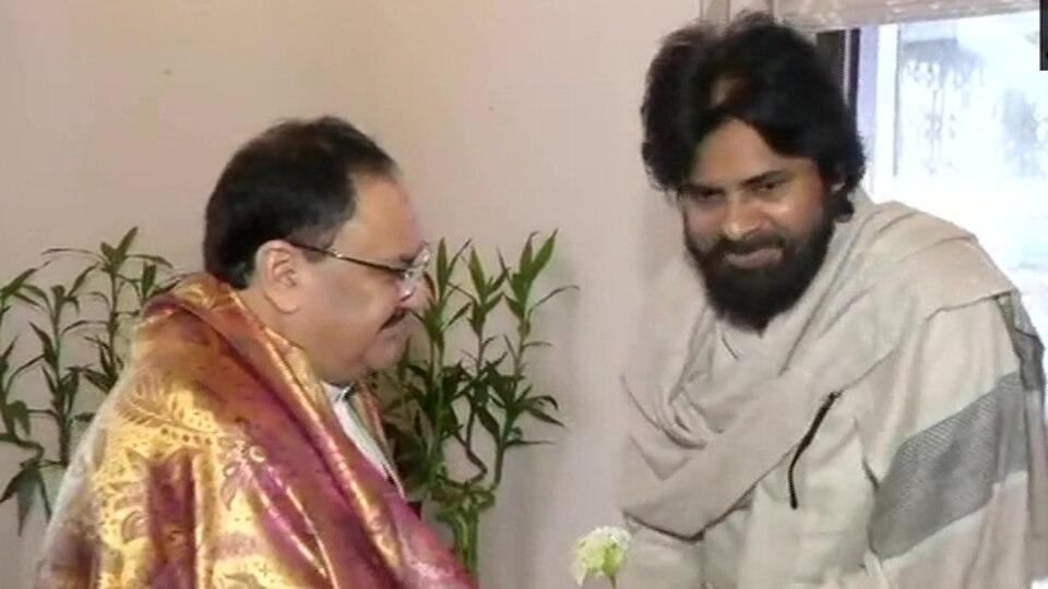Jana Sena Party chief Pawan Kalyan meets BJP president JP Nadda