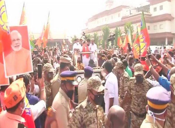 BJP chief JP Nadda arrives in Kochi